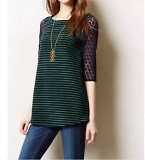 Anthropologie Postmark Forest Striped Tunic Top Navy Green Lace Arms XS Rare!
