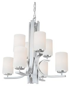 Thomas Lighting TK0008217 Pendenza - Eight Light 2-Tier Chandelier, Brushed Nickel Finish with Etched Glass
