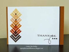 handmade thank you card ... graphic look ... clean and simple ... neutral colors ... Overlapping Ombre challenge ... column of stamped squares ... luv this card! .... great masculine card .... design would work great with other ombré color groups ... Papertrety Ink
