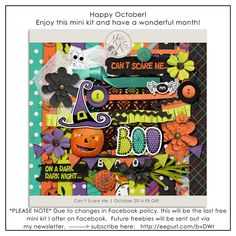 Quality DigiScrap Freebies: Can't Scare Me mini kit freebie from Designs by Mandy King