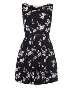 Black & White Floral Belted A-Line Dress #zulily #zulilyfinds