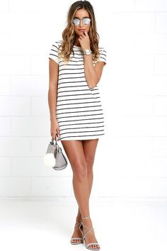 The Cafe Society Black and Cream Striped Shirt Dress is cool enough for the cafe crowd, and comfy enough for cuddling on the couch! Stretch knit shapes this casual t-shirt dress with a shift silhouette. Rounded neckline and short sleeves. Casual T Shirt Dress, Cute Casual Dresses, Striped Shirt Dress, Comfy Dresses, Dress Shirt, Lulu Fashion, Women's Fashion, Club Dresses, Shift Dresses