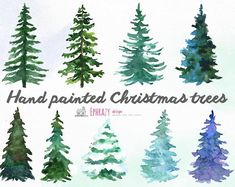 This clipart set includes 9 hand painted Christmas tree watercolor cliparts. Ideal for invitations to the Christmas theme, greeting cards, wedding invitations, photos and much more. Watercolor Christmas Tree, Christmas Tree Clipart, Christmas Tree Painting, Watercolor Trees, Watercolor Background, Christmas Art, Watercolor And Ink, Watercolor Paintings, Painted Christmas Tree