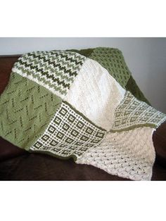Free knitting pattern for Sampler Afghan with 6 different stitch patterns including Leaves of Grass, Bargello, Honeycomb, Mosaic Stitch, Diamond Brocade and Quail afghan blocks