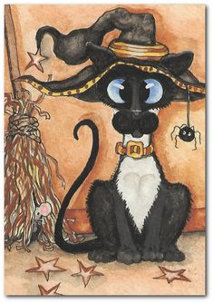 Siamese Cat Witchy Broom Halloween ArT Print by AmyLynBihrle Fete Halloween, Halloween Cat, Siamese Cats, Cats And Kittens, I Love Cats, Cool Cats, Gatos Cool, Here Kitty Kitty, Funny Cat Pictures