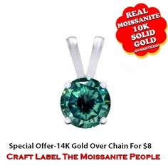 1/3 Ct Or 0.33 Ct Real Green Moissanite 10K Gold Solitaire Pendant Without Chain. Starting at $89