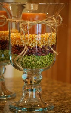 Fall Decor....best use for my clear vases!!