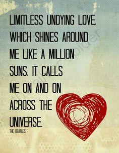 Across the Universe - Lyrics Typography - Quotation Art Print 8x10 - Heart. $13.50, via Etsy.