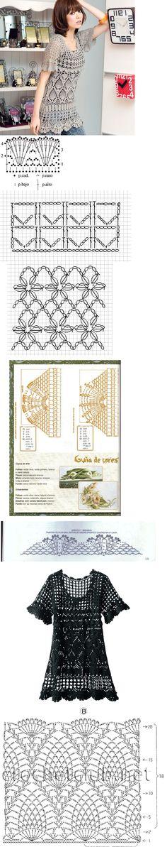 cpp14 tunic Crochet Lace Edging, Crochet Diy, Crochet Woman, Crochet Cardigan, Irish Crochet, Crochet Stitches Chart, Crochet Patterns, Crochet Clothes, Crochet Projects