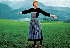 """A still from the iconic opening scene of the film version of """"The Sound of Music,"""" starring Julie Andrews as Maria von Trapp. Do Re Mi, Julie Andrews, Oprah Winfrey Show, Music Photo, Sound Of Music, Classic Films, Childhood Memories, All About Time, Movie Tv"""