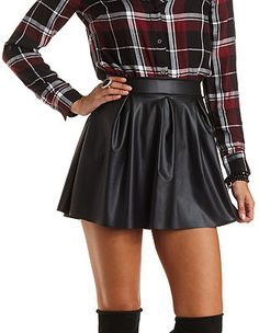 Pleated Faux Leather Skater Skirt: Charlotte Russe