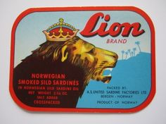 Old Sardine can Label, from Norway