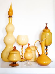 Italian Empoli butterscotch mid century vintage glass pieces from the 50's by deedee9:14