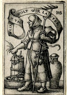 c.1542 Sebald Beham - A peasant woman at market; WL figure in profile to l, holding onions and a rake; various jars and on the ground.  Engraving