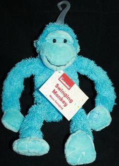 "Dan Dee monkey blue plush swinging soft stuffed animal toy 10"" Velcro hands New"