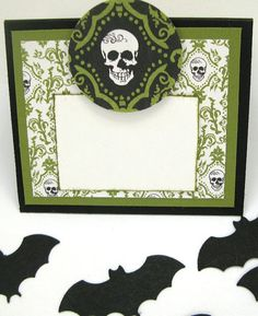 6 Blank Skull Place Cards with Spooky Bat Table Scatter by klinwin, $11.50