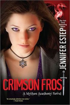 Crimson Frost (Mythos Academy #4) by Jennifer Estep: Arrested in the middle of her first date with Logan and wrongly accused of helping the Reapers free the evil god Loki, Gwen is shocked to learn that her accuser is Logan's father and that everyone at Mythos Academy believes she is guilty.