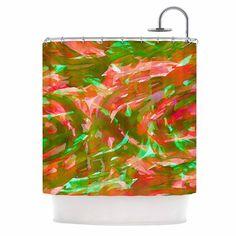 "Ebi Emporium ""Motley Flow 3"" Green Red Shower Curtain from KESS InHouse"