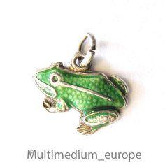 Jugendstil Silber Anhänger Frosch Emaille silver pendant enamel