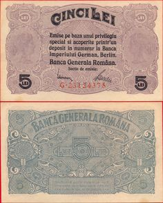 Bancnota 5 lei 1917 Banca Generala Romana Romania Map, My Memory, Vintage World Maps, Berlin, Memories, Coins, Money, Romans, Memoirs