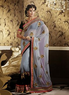Grey Soft Net Party Wear Saree