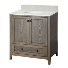 Foremost Brentwood 31-1/2 in. Vanity in Driftwood with Engineered Stone Vanity Top in Cream-BRODD3119 - The Home Depot