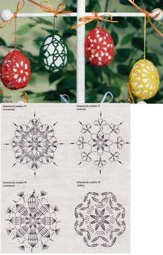 Crochet Chart, Crochet Motif, Crochet Doilies, Crochet Flowers, Easter Egg Pattern, Easter Crochet Patterns, Doily Patterns, Knitting Patterns, Crochet Christmas Ornaments
