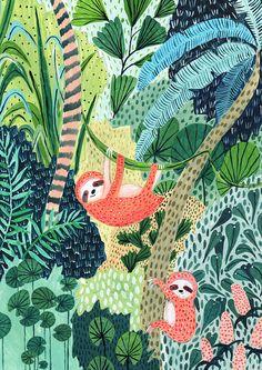 Sloth / Jungle / Sloth Print / Botanical Illustration / Sloth Gift / Tropical / Safari/Botanical Print/Home Decor/Sloth Art/Nursery Wall Art – Pictures Best Illustration Jungle, Botanical Illustration, Flat Illustration, Art Encadrée, Art Mural, Jungle Art, Jungle Drawing, Jungle Theme, Impressions Botaniques