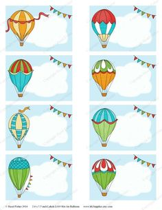 Hot Air Balloon Printable Labels - colourful balloons, cloud and bunting illustration - Digital Inst