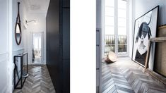 White / Black/ Chevron Floor - int2 architecture