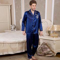 31fae6c653 NWT 2PCS Mens Silk Satin Pajamas Sleepwear Pyjamas PJS Long Sleeve M016 M L