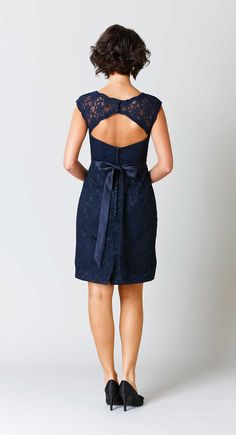 A fitted lace dress with a stunning keyhole back! | Kennedy Blue Bridesmaid Dress Harper