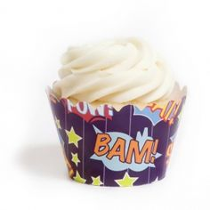 Dress My Cupcake Superhero POW BAM Cupcake Wrappers, Set of 12 * Special discounts just for this time only : Baking desserts tools Book Cupcakes, Cupcakes For Boys, Themed Cupcakes, Birthday Cupcakes, Boy Birthday, Birthday Ideas, Cupcake Decorating Tips, Decorating Tools, Cookie Decorating