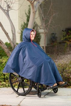 Stay dry when in a wheelchair with this poncho. The easy on easy off slipover feature makes this an all-time favorite for those confined to a wheelchiar and don't want to struggle with standard rainco Winter Poncho, Rain Poncho, Kids Poncho, Weather Machine, Waterproof Poncho, Wheelchair Accessories, Handicap Accessories, Mobiles, Poncho Design