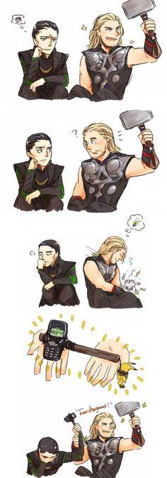 "Thor and Loki with Mjolnir and Nokia. Loki is like ""Thor, really? Avengers Humor, The Avengers, Marvel Jokes, Funny Marvel Memes, Funny Memes, Funny Comics, Loki Funny, Funny Quotes, Marvel Dc Comics"