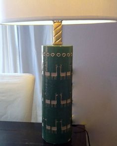 SALE- PRICE REDUCED Vintage Retro Authentic Chapman Chalkware Lamp LLamas Green and White 1940s. $258.00, via Etsy.