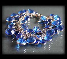 Zachwycająca bransoletka z niebieskich kryształków niebieski | BIŻUTERIA \ Bransoletki | Evangarda.pl