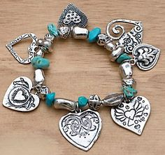 M Products® Turquoise & Silver Heart Charm Bracelet