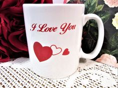 Valentine's Mugs Hearts I Love You Porcelain Ceramic Handcrafted BL by PorcelainChinaArt on Etsy