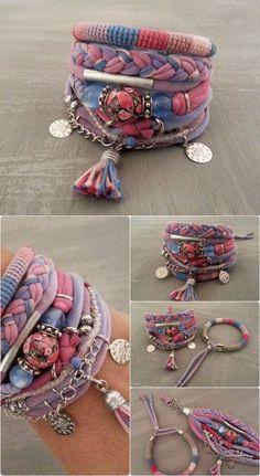 Pink Blue Boho Chic Bracelet Gypsy Bracelet by vanessahandmade