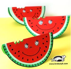 Watermelons from paper plates - such a cute craft idea! Summer Crafts For Toddlers, Easy Crafts For Kids, Toddler Crafts, Art For Kids, Activities For Kids, Paper Plate Art, Paper Plate Crafts, Paper Plates, Origami