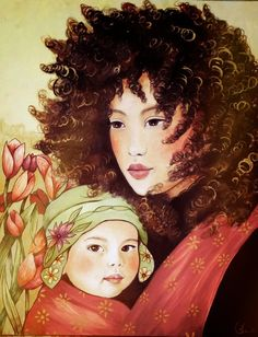 One in a series of mothers and babies from around the world; country of original is not noted. Art by Claudia Tremblay