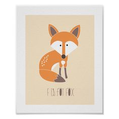 Shop Woodland Friends - F is for Fox Art Print created by origamiprints. Personalize it with photos & text or purchase as is! Nursery Artwork, Kids Room Wall Art, Baby Wall Art, Nursery Decor, Wall Décor, Nursery Ideas, Animal Art Prints, Fox Art, Custom Posters