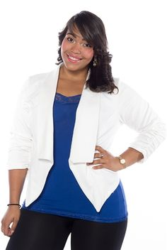 80e54d5f1cc Sharp as a Tack Cropped Plus Size Ponte Blazer - White from Janette Plus at  Lucky 21