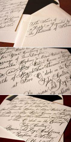 Modern black and white calligraphy wedding invitations by Zenadia Design