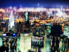 Urban Stretch Series, Fine Art, Skyline by Night, Downtown, New York, United States Photographic Print by Philippe Hugonnard at AllPosters.com