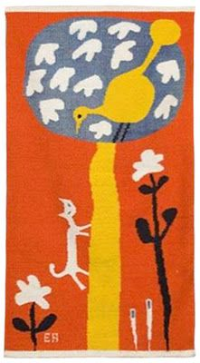 Cat and Bird in Tree, c. 1950's, handwoven wool. via LA Modern Auctions  Right: Hot Summer Landscape, c. 1960's, handwoven wool-LOVE it!