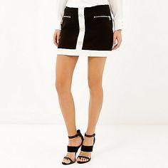 Black block pelmet mini skirt £55 #riverisland