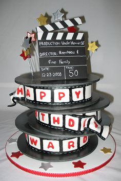 I cut and airbrushed foam core for them. I was inspired by cakeboxoc's film cake for this one. Movie Theme Cake, Movie Cakes, Movie Party, Sweets Cake, Cupcake Cakes, Beautiful Cakes, Amazing Cakes, Film Cake, Huge Cake