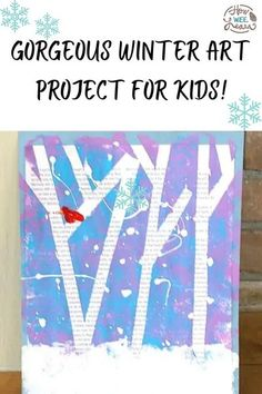 This tape resist winter art project for kids uses magazines to make a gorgeous mixed media craft. It is so nice and easy to make, even very young kids like preschoolers can enjoy this winter art activity! | Winter Crafts for Kids